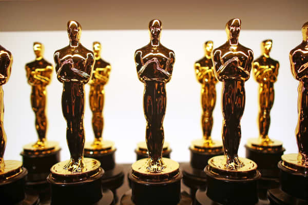 A view of oscar statuettes backstage during the 89th Annual Academy Awards.
