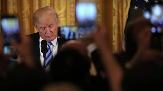 President Donald Trump at the East room of the White House in Washington, U.S. March 24, 2017.