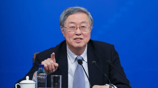 Zhou Xiaochuan, governor of the People's Bank of China, speaks during a press conference at the media center on March 10, 2017 in Beijing, China.