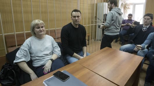 Russian opposition politician Alexei Navalny is seen during the trial of his detention on an unauthorized rally