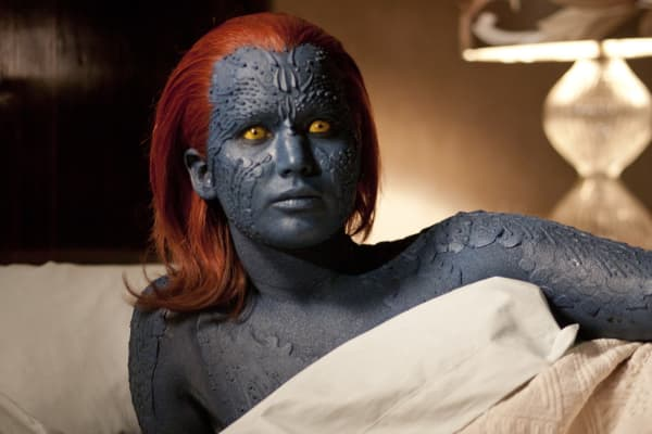 Jennifer Lawrence as Raven, aka Mystique in a scene from the film 'X-Men: First Class', 2011.