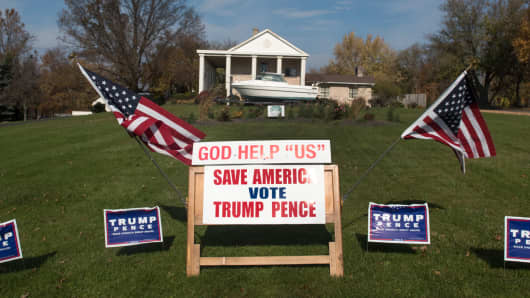Campaign signs supporting Donald Trump and Mike Pence, are displayed on November 8, 2016 in Salem, Ohio.