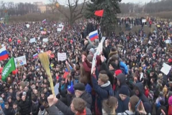 Biggest nationwide protests Russia has seen in years