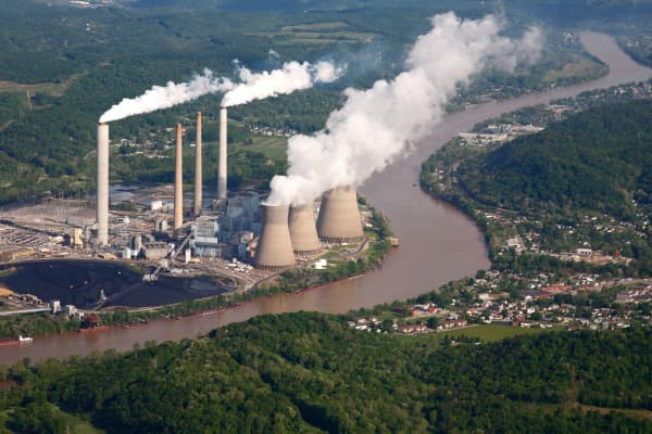 Aerial view of coal-fired power plant in West Virginia.