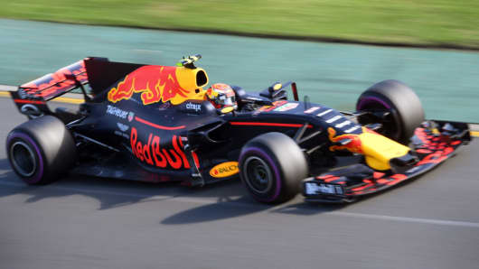 The Red Bull logo is seen on the Red Bull Racing Formula One car during the Formula One Australian Grand Prix in Melbourne on Mar. 26, 2017.