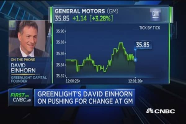 Einhorn: 2 GM stock classes would better serve investors