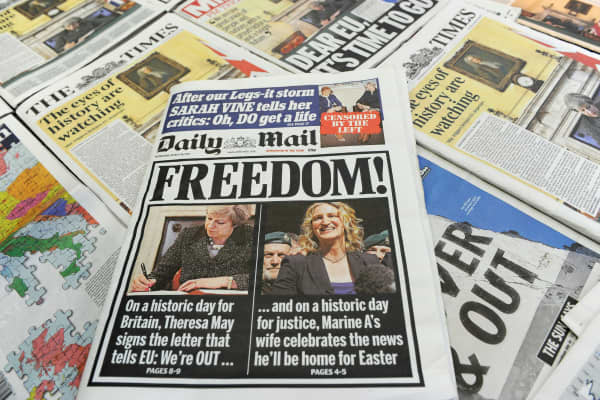 An arrangement of newspapers pictured in London on March 29, 2017, as an illustration, shows the front pages of the UK daily newspapers.