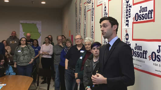 Georgia Democratic congressional candidate Jon Ossoff speaks to volunteers in his Cobb County campaign office. Ossoff is trying for an upset in a Republican-leaning district outside Atlanta. The primary is April 18 with a likely runoff on June 20.