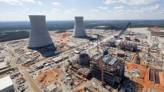 The Vogtle Unit 3 and 4 site being constructed by primary contractor Westinghouse a business unit of Toshiba near Waynesboro Georgia is seen in an aerial