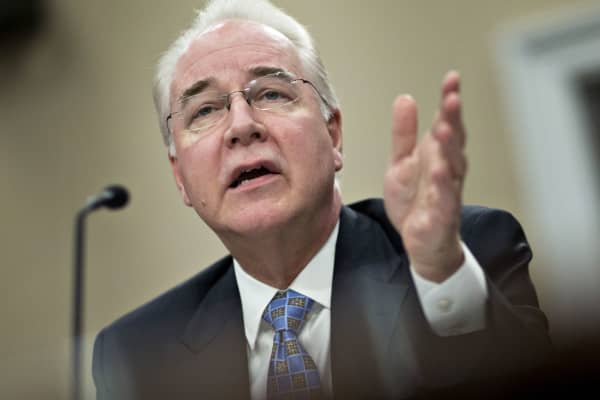 Tom Price, U.S. secretary of Health and Human Services (HHS), speaks during a House Appropriations Subcommittee hearing in Washington, D.C., on Wednesday, March 29, 2017.