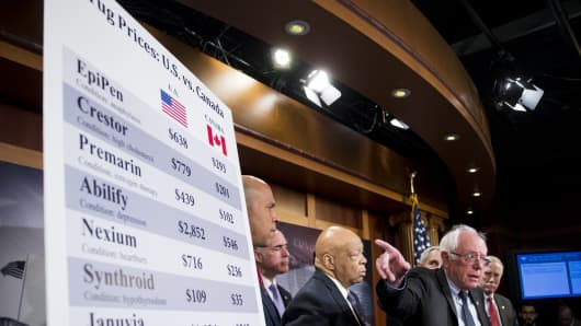 Sen. Bernie Sanders, I-Vt., flanked by Sen. Cory Booker, D-N.J., Sen. Bob Casey, Jr., D-Pa., Rep. Elijah Cummings, D-Md., Rep. Lloyd Doggett, D-Texas, and Sen. Angus King, I-Maine, speaks during a news conference on legislation that will allow for drug importation while maintaining important safety standards on Tuesday, Feb. 28, 2017.