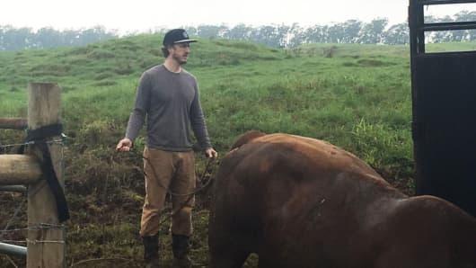 Monsef on his farm in Waimea on Hawaii's Big Island