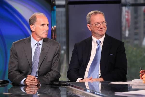 "Google executive Jonathan Rosenberg and executive Chairman EricSchmidt, co-authors of ""How Google Works."""