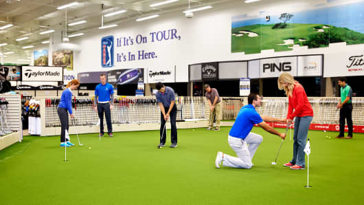PGA TOUR Superstore has expanded its experiential offerings to include greens and simulations that allow customers to test equipment out before they purchase it.