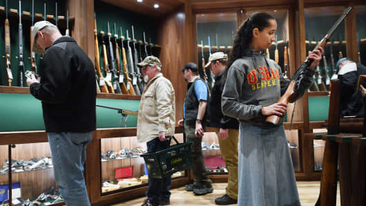 The gun library room of a Cabela's store in Gainesville, Virginia.