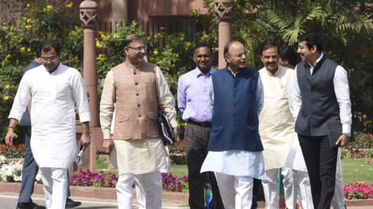 Finance Minister, Minister of Corporate Affairs Arun Jaitley with other Ministers arrives to attend the Parliament Budget Session after the BJP Parliamentary Party Meeting at Parliament Library on March 28, 2017 in New Delhi, India.