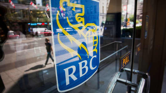 A Royal Bank of Canada branch stands in downtown Vancouver, British Columbia, Canada.