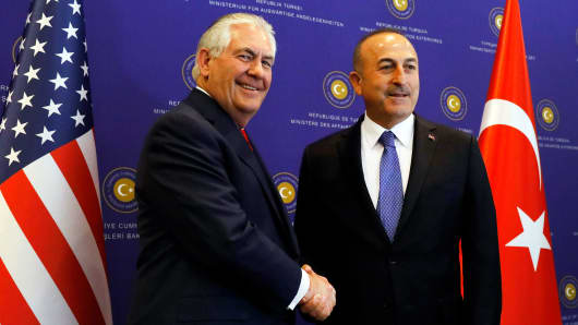 Secretary of State Rex Tillerson meets with Turkish Foreign Minister Mevlut Cavusoglu in Ankara, Turkey, March 30, 2017.