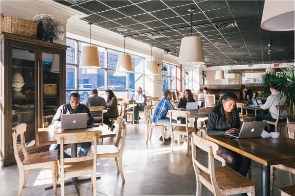 Inside Spacious, a co-working service that operates out of New York restaurants.
