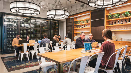 Inside a Spacious, a coworking service that operates out of New York restaurants.