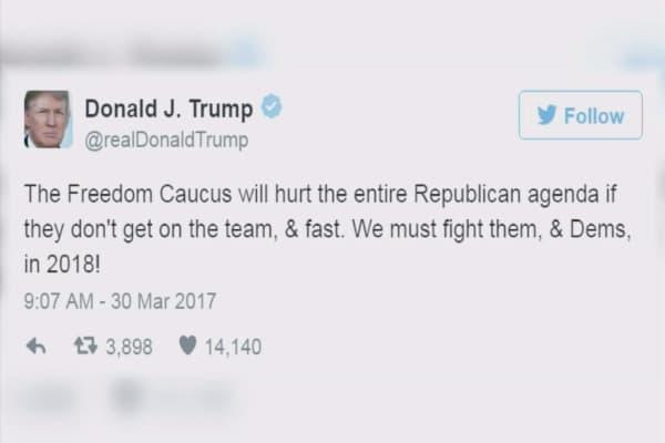 Trump threatens the Freedom Caucus
