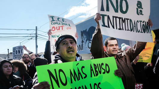 Dozens of workers and immigration activists march to the Tom Cat Bakery to demonstrate after numerous employees of the bakery claimed they've received letters threatening dismissal in 10 days if they can't prove they're in the U.S. legally on March 22, 2017 in the Long Island City neighborhood of the Queens borough of New York City.