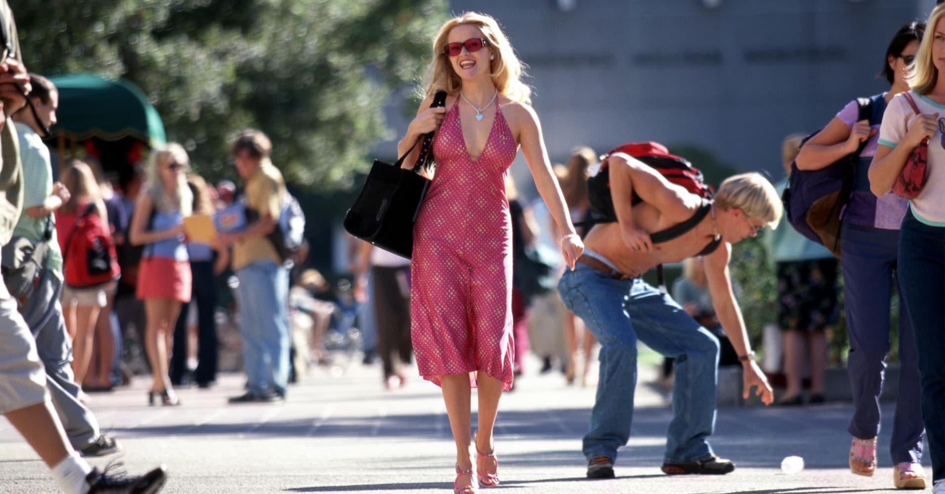 "In the movie ""Legally Blonde,"" Elle Woods, played by actress Reese Witherspoon, submits a pink resume for a job in law school."