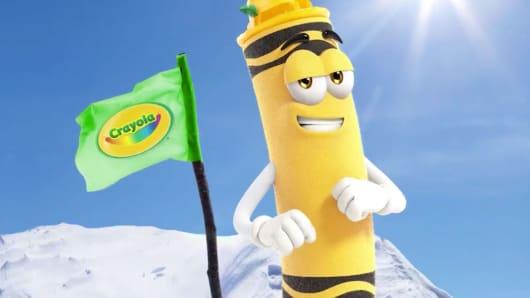 A cartoon character representing Crayola's dandelion crayon as seen in a Crayola video.