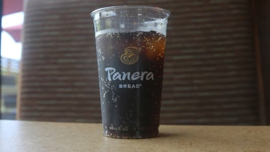 A to-go cup of fountain cola on a table at Panera Bread in Monroe, NY.