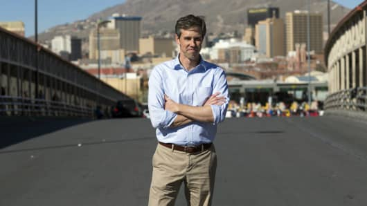 Beto O'Rourke (D-Tex.) stands for a portrait in the middle of the international bridge between the U.S. and Mexico, Friday, February 10, 2017, in El Paso, Texas.