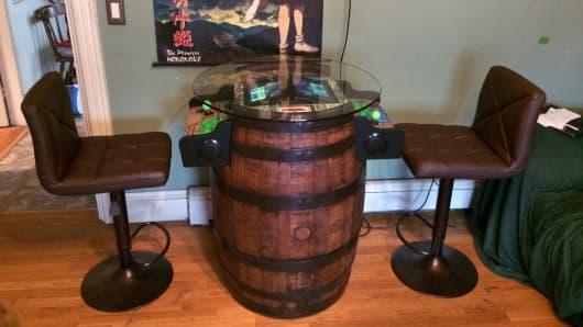 Trevor MacKenzie built a Zelda machine into a wine barrel.