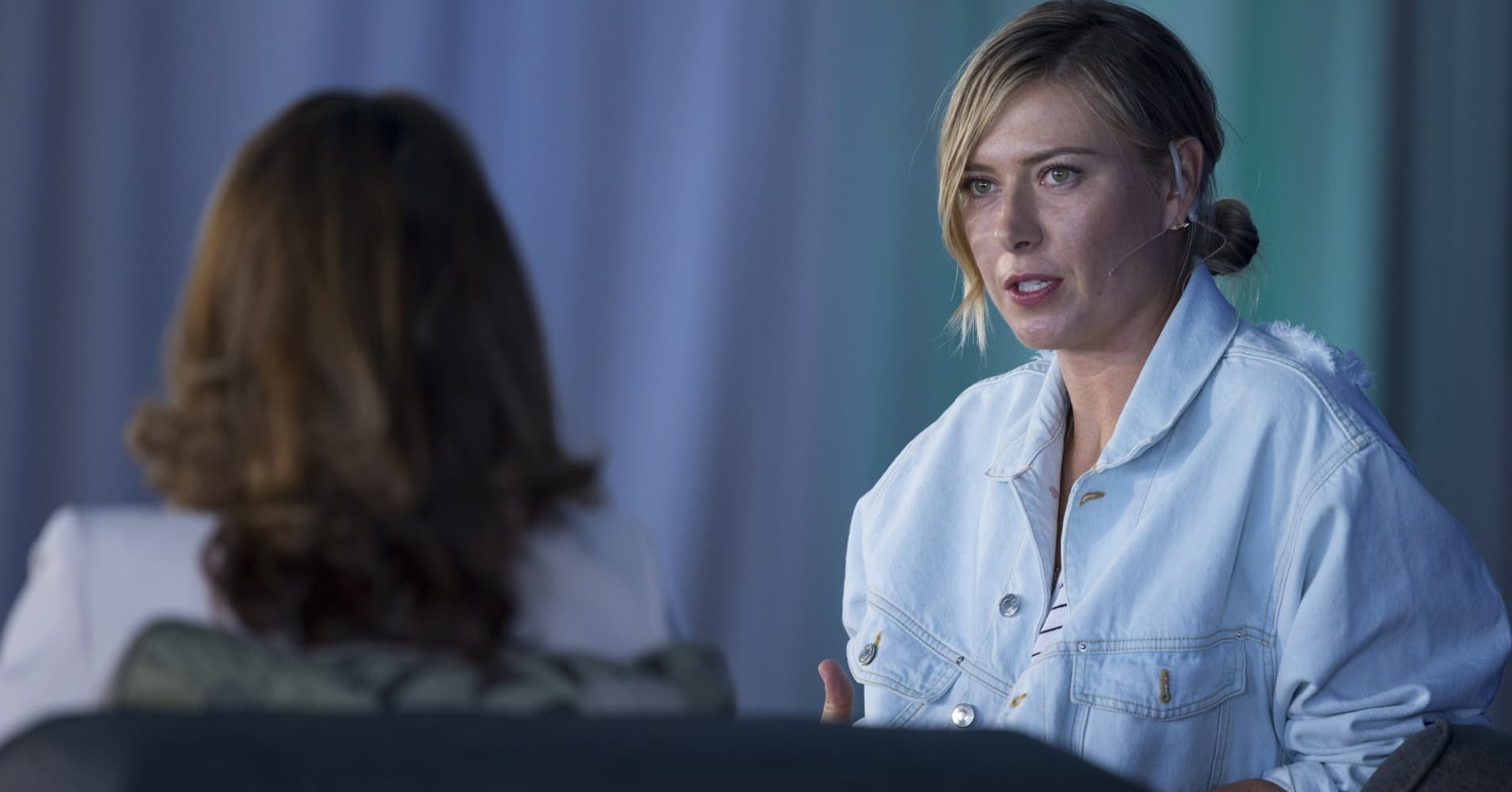 Maria Sharapova speaking at the ANA Inspiring Women in Sports conference.