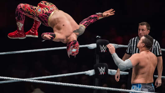 Sin Cara jumps during the WWE Live Dusseldorf event at ISS Dome on Feb. 22, 2017 in Dusseldorf, Germany.