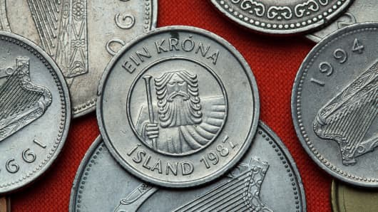 Coins of Iceland. Mountain giant landvaettir depicted in the Icelandic one krona coin (1987).