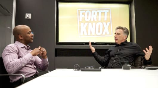CNBC's Jon Fortt (l) seated with Logitech chief Bracken Darrell (r), during the lastest Fortt Knox podcast.