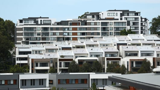 Newly constructed houses and apartments stand in the suburb of Putney Hill in Sydney, Australia, on Sunday, Jan. 8, 2017.