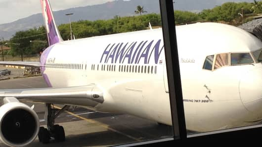An Hawaiian Airlines plane at Honolulu International Airport.