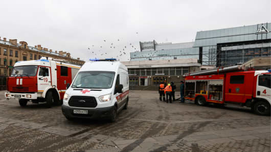 Emergency service vehicles at the entrance to Tekhnologichesky Institut station of the St Petersburg metro in the aftermath of an explosion.