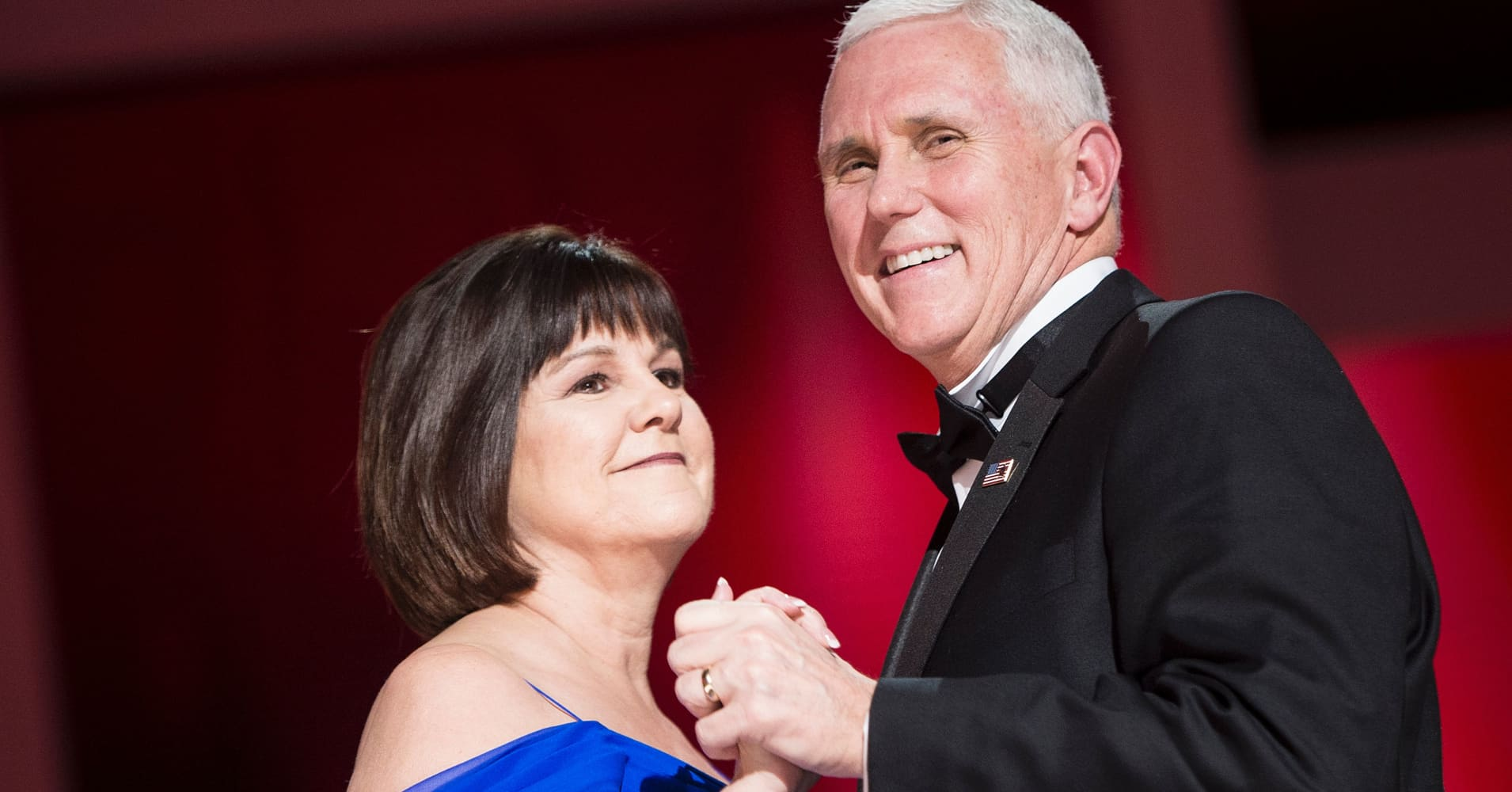 Vice President Mike Pence and Karen Pence dance during the Liberty ball at the Walter E. Washington Convention Center on January 20, 2017 in Washington, DC.