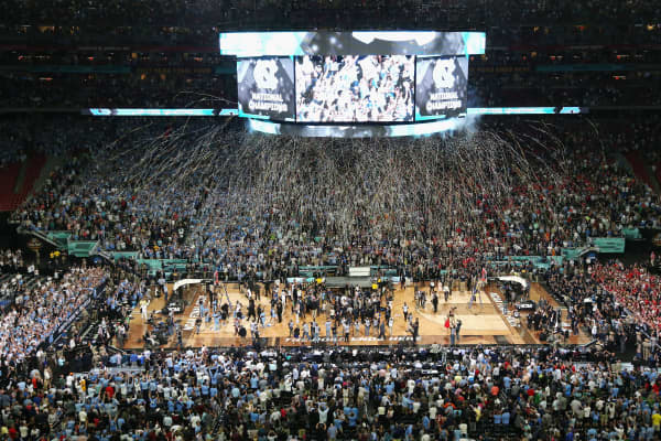 Confetti falls as the North Carolina Tar Heels celebrate after defeating the Gonzaga Bulldogs during the 2017 NCAA Men's Final Four National Championship game at University of Phoenix Stadium on April 3, 2017 in Glendale, Arizona.