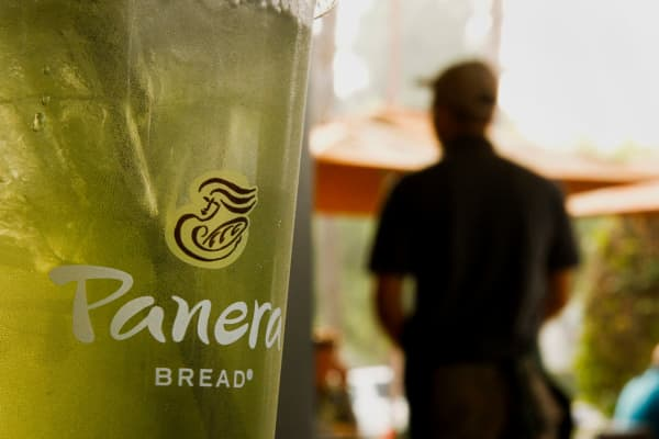 A cup of iced tea in a Panera Bread restaurant in Torrance, California.