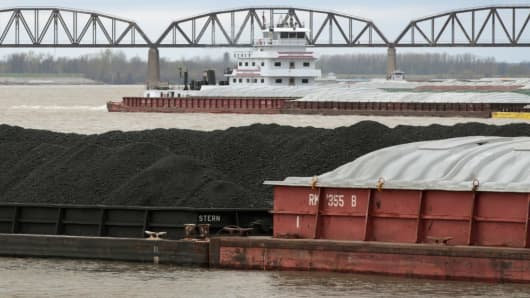 A barge loaded with Illinois Basin coal sits in the Ohio River on April 3, 2017 at Cairo, Illinois.