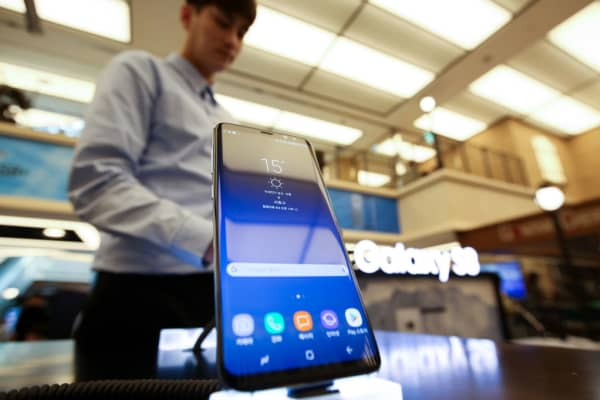 A Samsung Electronics Co. Galaxy S8 smartphone is displayed at one of the company's promotional booths in Seoul, South Korea, on Sunday, April 2, 2017.