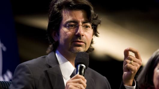 eBay founder Pierre Omidyar speaks during the panel session Democracy and Voice: Technology For Citizen Empowerment and Human Rights