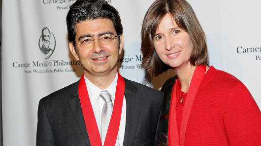 Pierre Omidyar and Pamela Omidyar attend the Carnegie Medal of Philanthropy 10th Anniversary Award ceremony at The New York Public Library