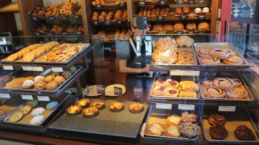 The bakery racks at the counter of Panera Bread in Monroe, NY.