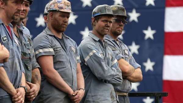 Coal miners in Beallsville, Ohio.