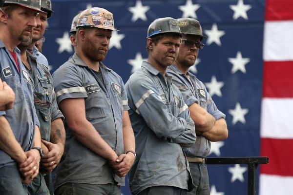 Coal miners in Beallsville, Ohio.