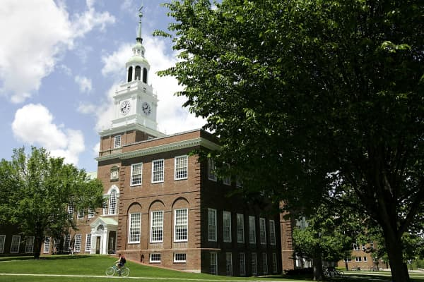 Baker Hall stands on the campus of Dartmouth College, the smallest school in the Ivy League, in Hanover, New Hampshire.