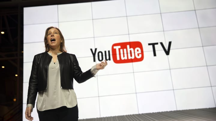 Susan Wojcicki, chief executive officer of YouTube Inc., introduces the company's new television subscription service at the YouTube Space LA venue in Los Angeles, California, U.S., on Tuesday, Feb. 28, 2017.